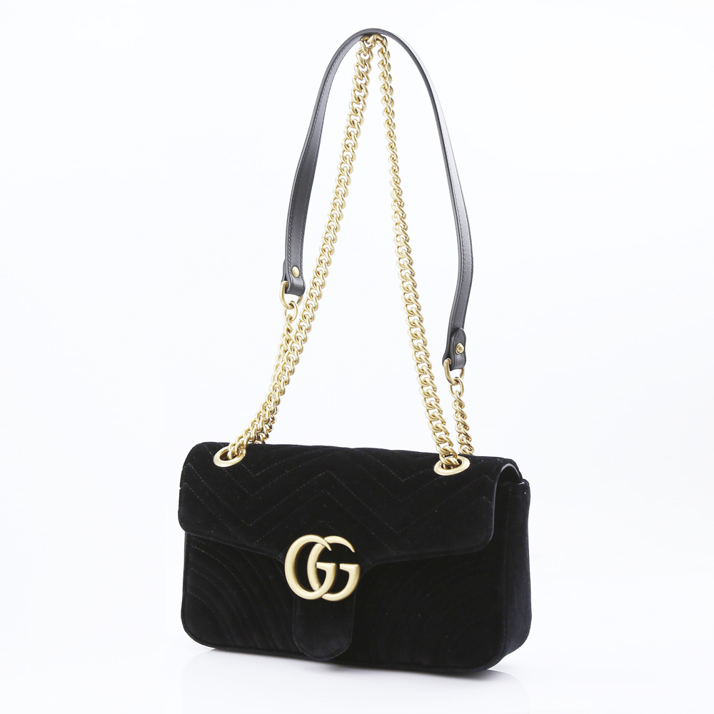 GUCCI グッチ GG MARMONTベルベットSM SD 443497K4D2T/1000 ブラック【FITHOUSE ONLINE SHOP】