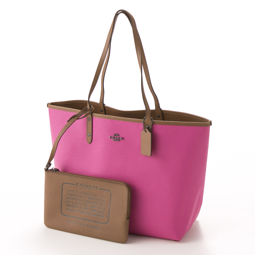 COACH OUTLET コーチアウトレット PVCリバーシブルシティトート F36609/QMBFC ピンク【FITHOUSE ONLINE SHOP】