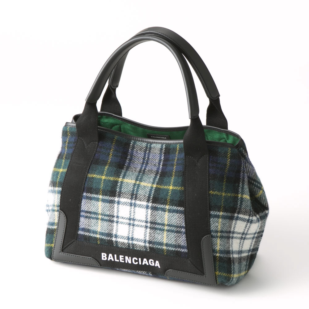 BALENCIAGA バレンシアガ  NAVY CABAS SMチェック 3399339UY2N/3260 コンビ【FITHOUSE ONLINE SHOP】