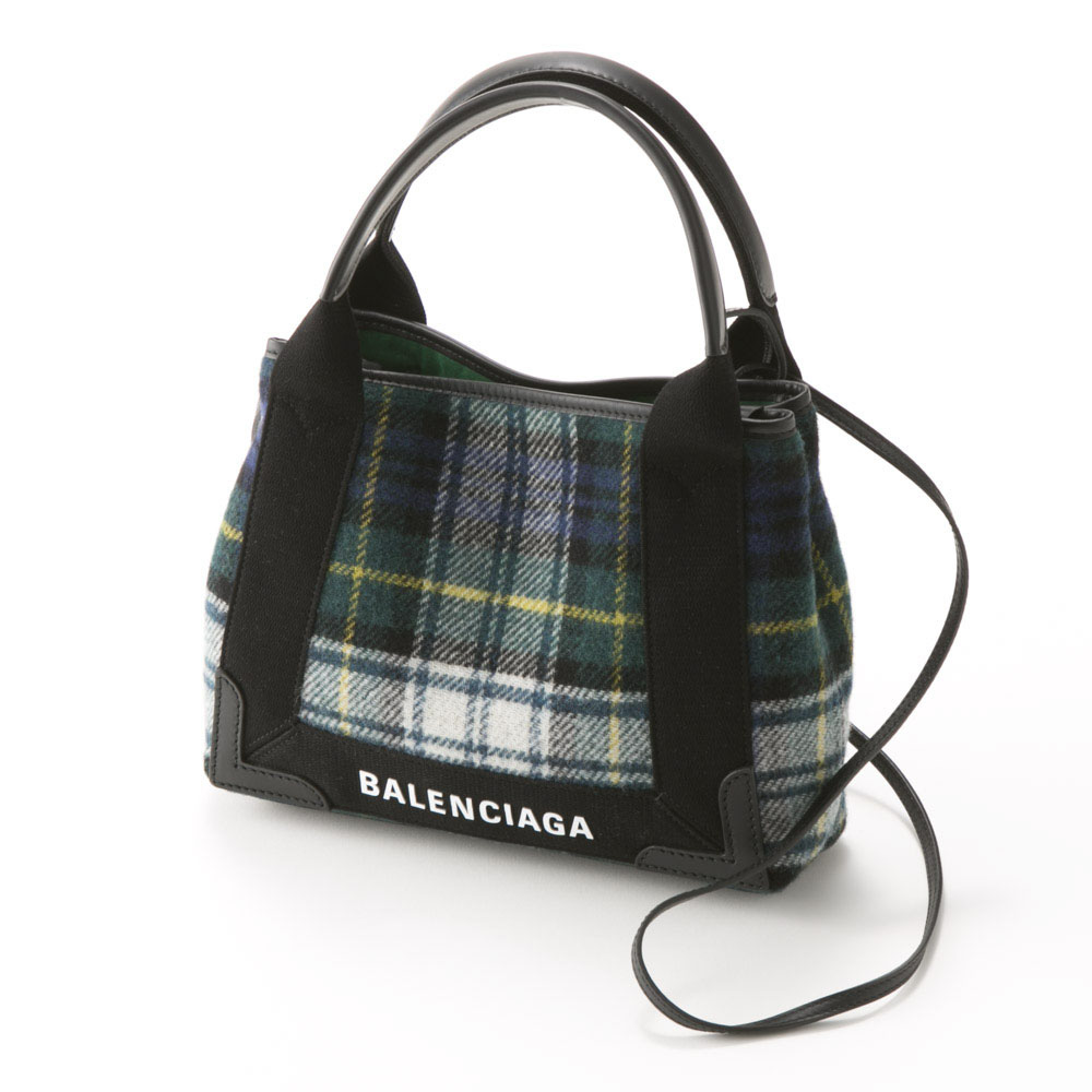 BALENCIAGA バレンシアガ NAVY CABAS XSチェック 3903469UY2N/3260 コンビ【FITHOUSE ONLINE SHOP】