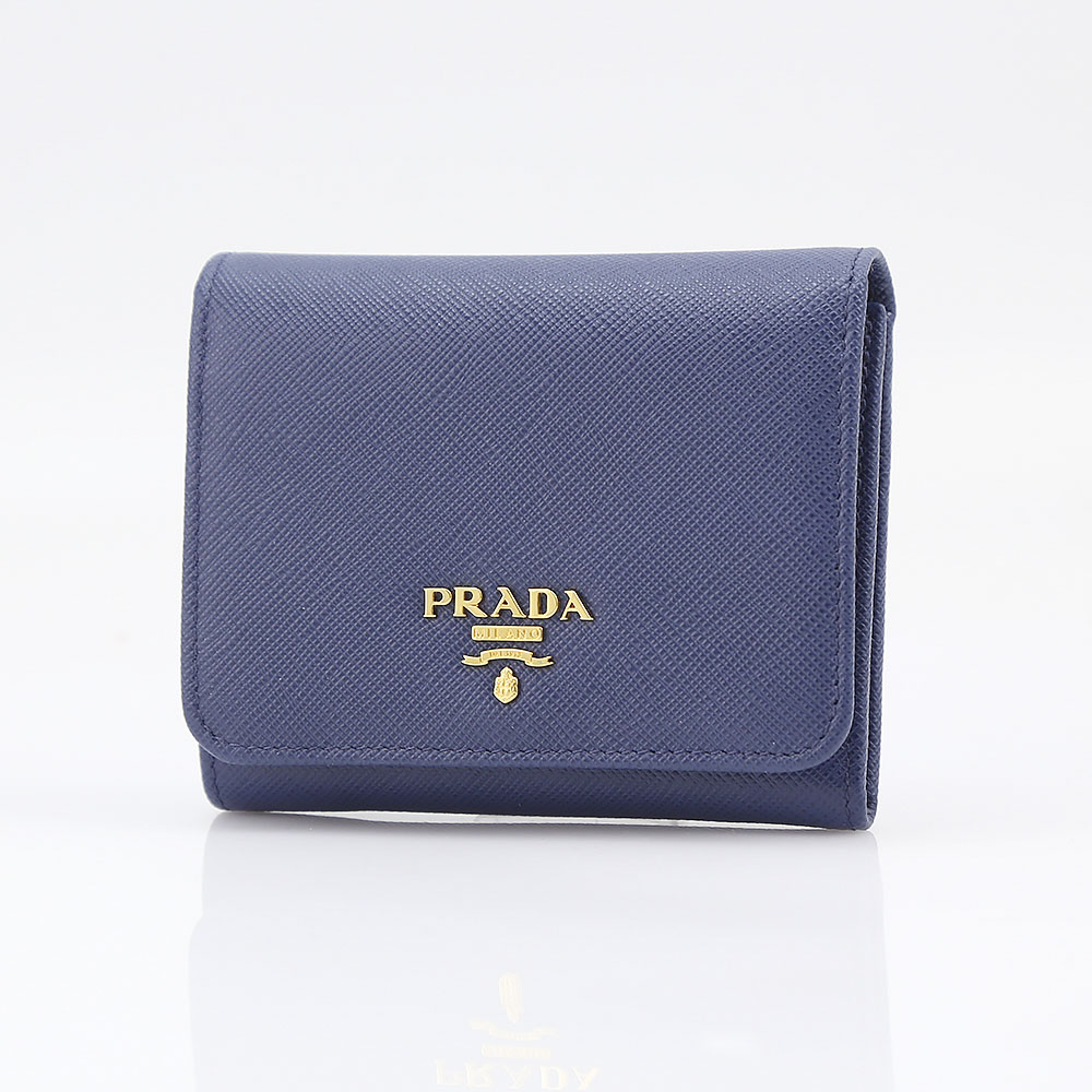プラダ 折り財布 SAFFIANO METAL PRADA 1MH176 QWA BLUETT【FITHOUSE ONLINE SHOP】