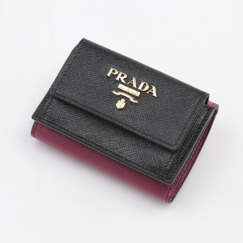 プラダ PRADA ミニ財布 SAF.バイカラー三折TINY/NERO+IBISCO 1MH021-ZLP【FITHOUSE ONLINE SHOP】
