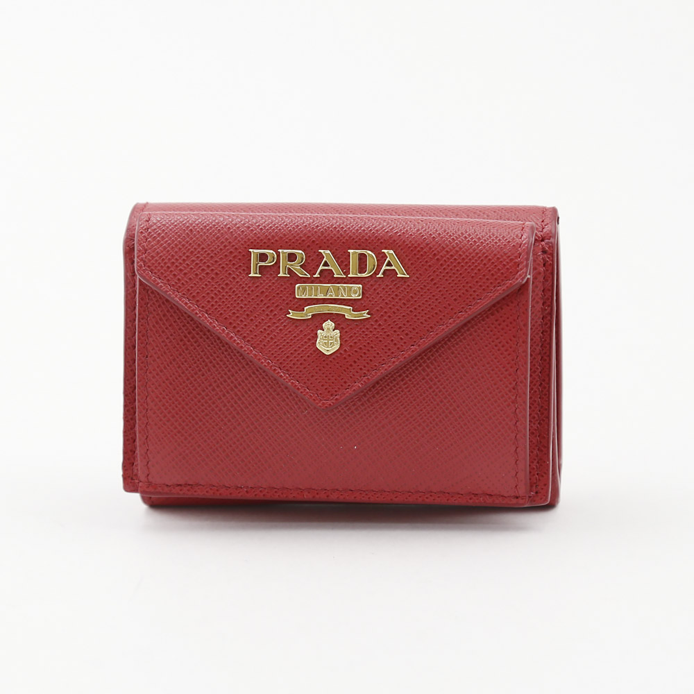 プラダ PRADA 折財布 SAF.METAL三折TINY 1MH021-QWA FUOCO レッド【FITHOUSE ONLINE SHOP】