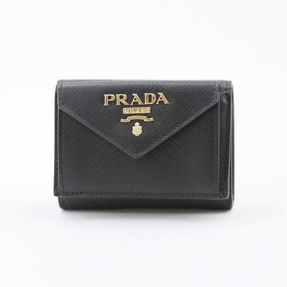 PRADA プラダ 折財布 SAF.METAL三折TINY 1MH021-QWA/NERO ブラック【FITHOUSE ONLINE SHOP】